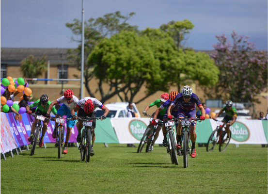 The shorter stages ensure more intense racing and close finishes, including this group gallop at the end of Stage 3 of the 2016 Cape Pioneer Trek international mountain bike stage race in George, South Africa on Wednesday. Photo credit: www.zcmc.co.za