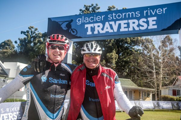 Federick van Wyk and Peter Duminy were all smiles on completing the Glacier Storms River Traverse mountain bike stage race held at the The Tsitsikamma Village Inn situated in Storms River Village on the Garden route, South Africa on the 6th August 2016 Photo by:  Oakpics.com / Dryland Event Management / SPORTZPICS {dem16gst}