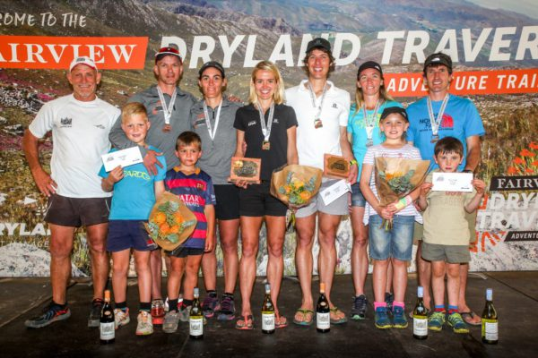 Fairview Dryland Traverse Mixed Category generall classification podium. From left to right: Donal Mouton (Fairview Wines, Sponsor), Rodolf van Rensburg and Janie van Rensburg (3rd Toroise and the Hare), Landie Greyling and Christiaan Greyling (1st Salomon), Iain Don-Wauchope and Su Don-Wauchope (2nd Over the Hill[Billies]). 6 November 2016. Photo by: Oakpics/Fairview Dryland Traverse/SPORTZPICS {dem16gst}