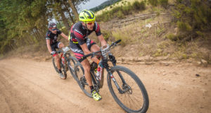 Team Kross Bikes BiXS Pro's Konny Looser and Fabian Giger obliterated the final stage of the FNB Wines2Whales Mountain Bike (MTB) Race on Sunday, 13 November 2016, securing the overall Champions Title in an impressive combined time of 08 hours 03 minutes 50 seconds after three days of racing.  Seen here (front to back):  Team Kross Bikes BiXS Pro's Konny Looser and Fabian Giger in action during Stage Three of the 2016 FNB Wines2Whales Mountain Bike (MTB) Race.  Photo Credit:  Tobias Ginsberg