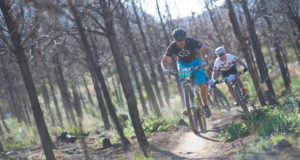"The organisers of the Pennypinchers Origin Of Trails are excited to welcome MTO as a partner to the 4th edition of this much anticipated two-day stage Mountain Bike event. MTO will be running an exciting ""selfie"" competition during Stage One of the Pennypinchers Origin Of Trails.  To stand a chance to win a one year pass into Jonkershoek or any of MTO's trails, entrants need to take a selfie at the top of the MTO Monster Climb and share it to the MTO Facebook page. The five riders with the most creative photographs will win the prize.  Seen here:  Mountain bikers in action during the 2015 Pennypinchers Origin Of Trails.  Photo Credit:  Tobias Ginsberg"