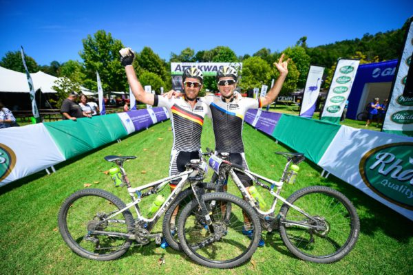Defending champion Karl Platt (left) raced to victory by riding with teammate Tim Bohme (right) in 2016, but for the 2017 Fairview Attakwas Extreme MTB Challenge he will be the lone Team Bulls rider. Photo by www.zcmc.co.za.