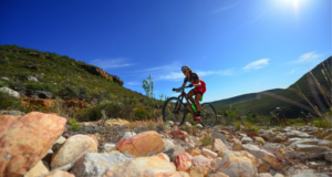 The Fairview Attakwas Extreme MTB Challenge includes some rugged terrain through the Karoo and the Attakwas Reserve. Here Ariane Lüthi tackles a loose, rocky climb during the 2016 edition. Photo Credit: www.zcmc.co.za