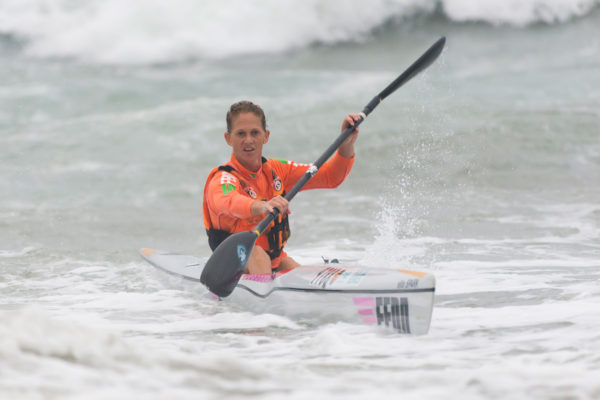 Having had to deal with benign conditions recently, the conditions on Friday suited the experienced Fenn Kayaks' ace Michelle Burn who notched up her first win of the series at the Thule Surfski Challenge, Race Four of the 2017 FNB Surfski Series on Friday, 27 January. Anthony Grote/ Gameplan Media