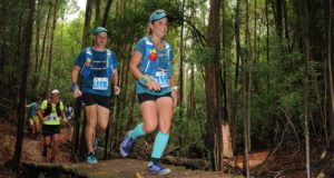 Trail runners taking part in the 9th annual Cell C AfricanX Trailrun presented by ASICS the weekend of 17 – 19 March 2017 are encouraged to send through their nominations for the event's cherished 'Sanet Wentzel Spirit Award'.  Introduced in 2010, one year after the AfricanX's inception, the award was founded in memory of Sanet Wentzel, an AfricanX participant who passed away tragically at the end of 2009 after being knocked down by a car during a morning training run.  In 2016 the 'Sanet Wentzel Spirit Award' was presented to Stella Smit, an AfricanX runner from Paarl who had undergone open brain surgery to remove a cancerous tumour.  Seen here:  Stella and Arnold Smit in action during the 2016 Cell C AfricanX Trailrun presented by ASICS.  Photo Credit:  Jetline Action Photo