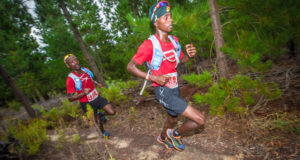 The third and final Cell C AfricanX Training Run will start at 07:00 at Pipe Track (Cape Town) this coming Saturday, 21 January 2017.  The AfricanX Training Run is free of charge and open to all trail runners that are able to run at least 15km on the road.  This will make the training run more enjoyable.  Seen here (from left to right):  Edwin Sesipi and Givemore Mudzinganayama in action during the 2016 Cell C AfricanX Trailrun presented by ASICS.  Photo Credit:  Tobias Ginsberg