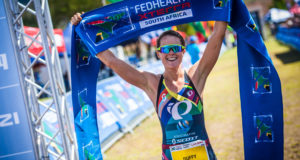 One lucky 2017 Fedhealth XTERRA entrant will stand the chance to win an exciting trip to the idyllic Reunion Island complements of Fedhealth, the Title Sponsor of the world's largest XTERRA.  This amazing prize is valued at around R25 000, and includes the flights, bicycle transport, airport taxes, transfers, accommodation of the winner and an entry into XTERRA Reunion.  The winner's name will be drawn directly after the final XTERRA SA Event of 2017, the Fedhealth XTERRA Lite, in Grabouw on Sunday, 26 February 2017.  Seen here:  XTERRA World Champion Flora Duffy claiming gold at the 2016 Fedhealth XTERRA SA Champs in Grabouw.  Photo Credit:  Tobias Ginsberg