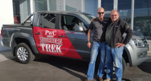 Tavcor Commercial Vehicle sales executive Donovan Austin (left) hands over the Amarok double cab to PwC Great Zuurberg Trek route director Rob Hayter. Photo: Supplied