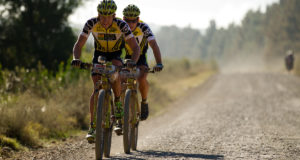 OAK VALLEY - Overall leaders Kristian Hynek & Robert Mennen of Topeak Ergon Racing during stage 5 of the 2014 Absa Cape Epic Mountain Bike stage race held from The Oak Estate in Greyton to Oak Valley Wine Estate in Elgin, South Africa on the 28 March 2014  Photo by Gary Perkin/Cape Epic/SPORTZPICS