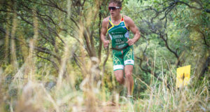 "Reigning Cross Triathlon Junior Elite Men's World Champion, Michael Ferreira will make his XTERRA ""long course"" debut on Saturday, 21 January 2017 when he takes on the Fedhealth XTERRA at Buffelspoort Dam. Seen here:  Michael Ferreira in action during the trail run leg of the 2016 Fedhealth XTERRA Lite at Buffelspoort Dam.  Photo Credit:  Tobias Ginsberg"