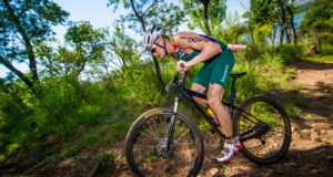 Up-and-coming off-road triathlete, Ruan Van Zyl will be seen in action at all three Fedhealth XTERRA Lite races in 2017 (Buffelspoort, Nelson Mandela Bay and Grabouw) before moving on to the Fedhealth XTERRA (long course) in 2018.  Seen here:  Ruan Van Zyl in action during the mountain bike leg of the Fedhealth XTERRA Lite.  Photo Credit:  Tobias Ginsberg