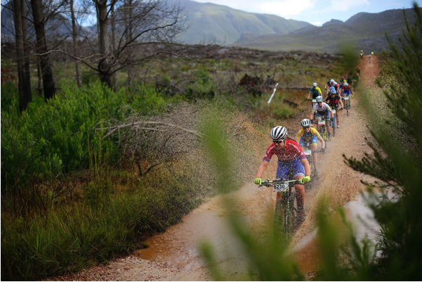 Candice Neethling leads the women's charge through Grabouw's soaked routes this past weekend at the first round of the  Ashburton Investments National MTB Series in Grabouw. Photo credit: www.zcmc.co.za