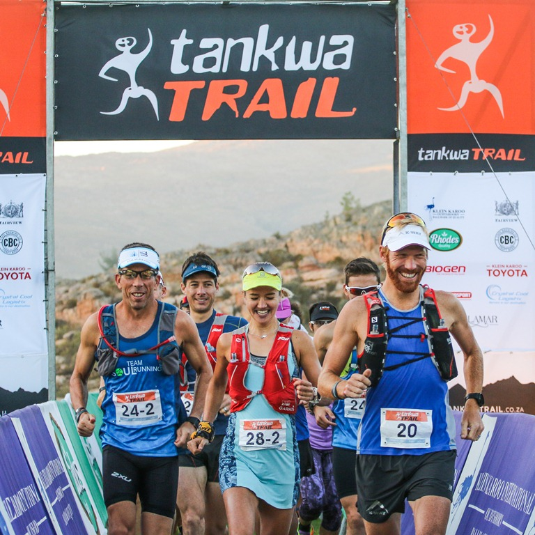 Mauritz Jansen van Rensburg, Landie Greyling and AJ Calitz lead out the field during Stage 1 of the Tankwa Trail on Friday the 17th of February 2017. Photo by Oakpics.com.
