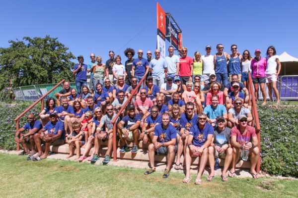The exclusive field of trail runners assembled before lunch and prize giving on Sunday morning for a 2017 Tankwa Trail group photo. Photo by Oakpics.com.