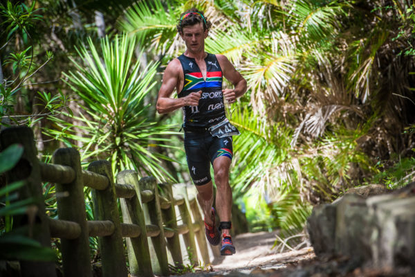 Bradley Weiss and Johandri Leicester claimed gold at the Fedhealth XTERRA in Nelson Mandela Bay on Saturday, 11 February 2017 completing the 1.5km ocean swim, 28km MTB discipline and 12km trail run in a combined time of 02 hours 02 seconds and 02 hours 38 minutes 20 seconds respectively.  Seen here:  Weiss in action on the day.  Photo Credit:  Tobias Ginsberg