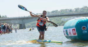 Euro Steel's Andy Birkett eased to his seventh title on what was one of the most challenging final stages in the recent history of the FNB Dusi Canoe Marathon on Saturday. Anthony Grote/ Gameplan Media