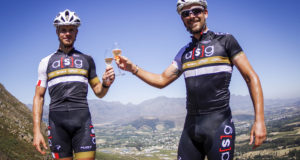 The Ellsworth-ASG outfit of Travis Walker (left) and Pieter Seyffert toast a new partnership after winning the men's team title in the TransCape mountain bike race following the final 78.5km stage from Villiersdorp to Franschhoek. The seven-day, 690km journey, which started in Knysna, ended at the La Couronne Wine Estate in Franschhoek. Photo: Jacques Marais