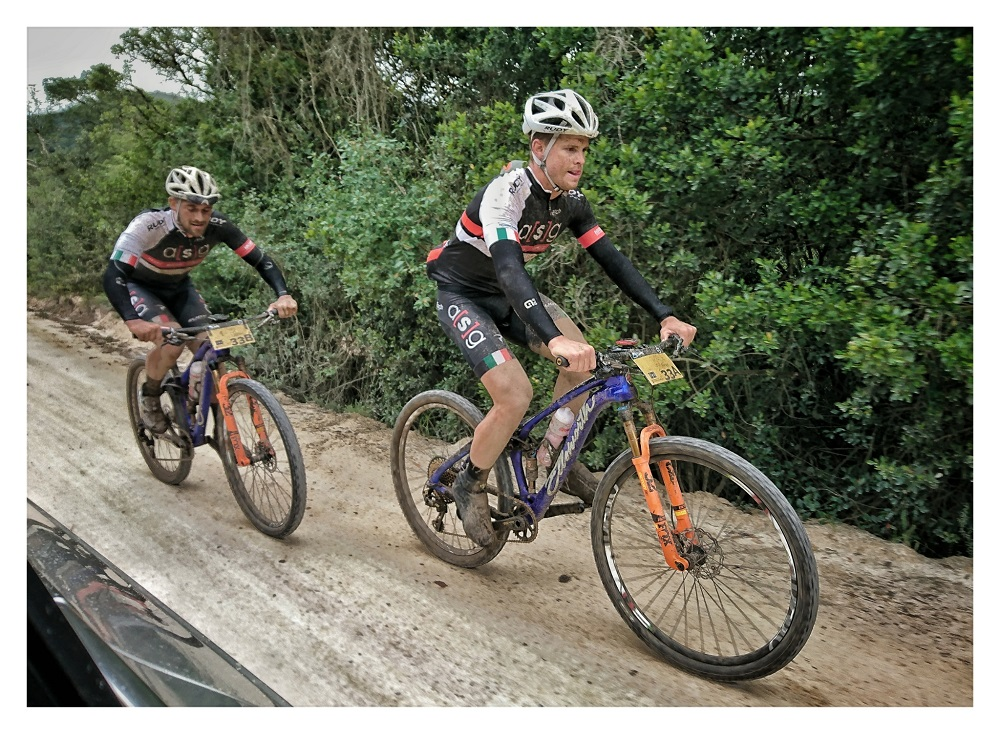 Pieter Seyffert (left) and Travis Walker from Ellsworth-ASG set the pace on the opening stage of the seven-day TransCape mountain bike race that took riders over a distance of 80km from Knysna to Wilderness today. Photo: Jacques Marais