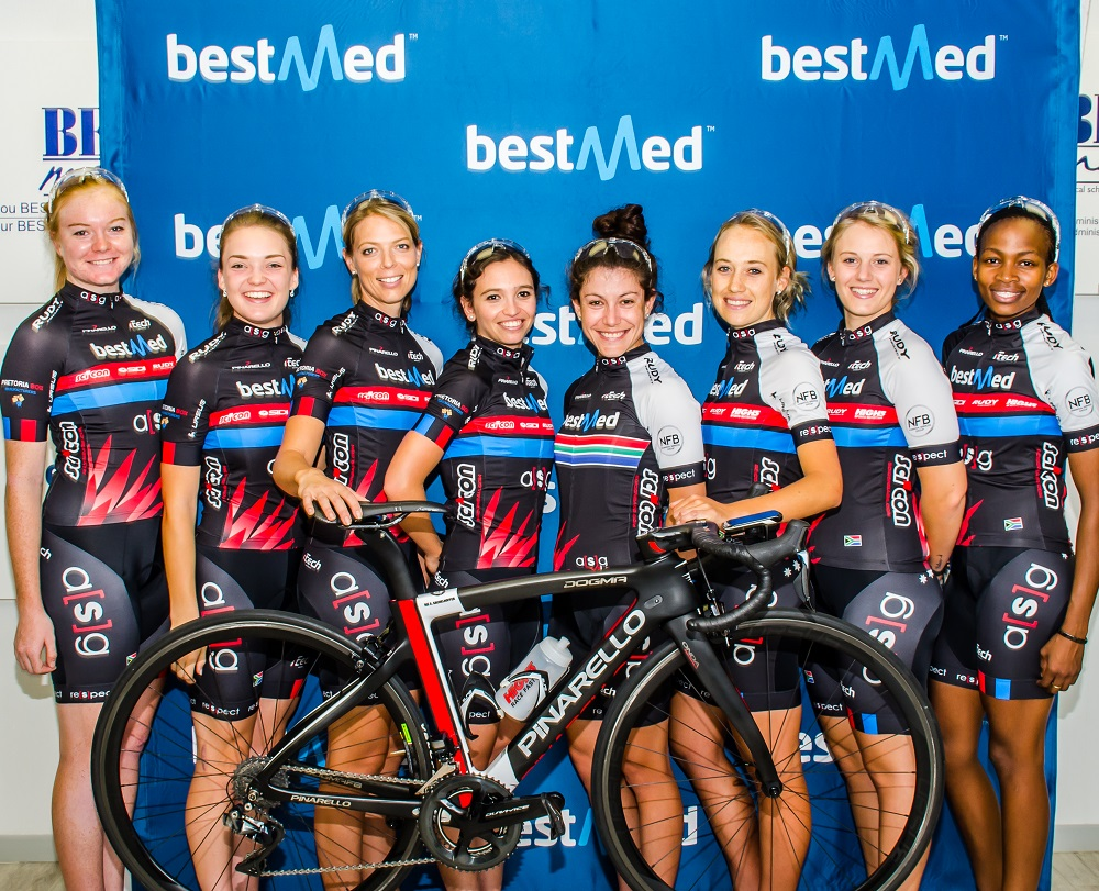 The roster of the Team Bestmed-ASG cycling team for the 2017 season includes, from left, Skye Davidson, Lynette Benson, Sanet Coetzee, Nina Sender, An-Li Kachelhoffer, Chante van der Merwe, Nicolene and Zanele Tshoko. Bernette Beyers is in Switzerland. Photo: Stuart Pickering