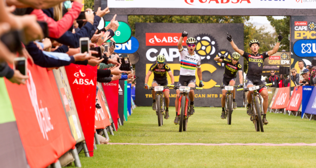 Nino Schurter & Matthias Stirnemann of SCOTT-SRAM MTB Racing celebrate winning stage 5 & taking the Overall lead during stage 5 of the 2017 Absa Cape Epic Mountain Bike stage race held from Oak Valley Wine Estate in Elgin, South Africa on the 24th March 2017  Photo by Shaun Roy/Cape Epic/SPORTZPICS