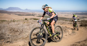 Jennie Stenerhag and Ester Suss, of Meerendal CBC, on their way to second on the Absa Cape Epic Prologue. Photo by Nick Muzik/Cape Epic/SPORTZPICS