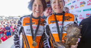 Esther Suss & Jennie Stenerhag of Meerendal CBC celebrate winning the 2017 Absa Cape Epic Mountain Bike stage race from Oak Valley Wine Estate in Elgin to Val de Vie in Paarl, South Africa on the 26th March 2017  Photo by Greg Beadle/Cape Epic/SPORTZPICS
