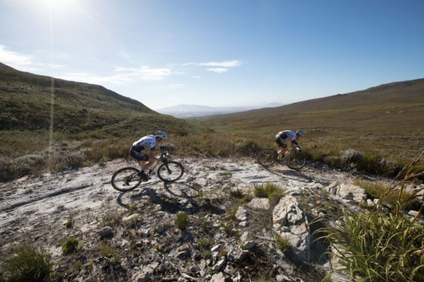 Jaroslav Kulhavý leads Christoph Sauser in pursuit of the race leaders SCOTT-SRAM MTB Racing. Photo by Nick Muzik/Cape Epic/SPORTZPICS.
