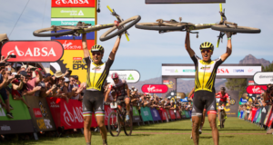 Nino Schurter & Matthias Stirnemann of SCOTT-SRAM MTB Racing celebrate winning the 2017 Absa Cape Epic during the final stage (stage 7) of the 2017 Absa Cape Epic Mountain Bike stage race from Oak Valley Wine Estate in Elgin to Val de Vie in Paarl, South Africa on the 26th March 2017  Photo by Shaun Roy/Cape Epic/SPORTZPICS