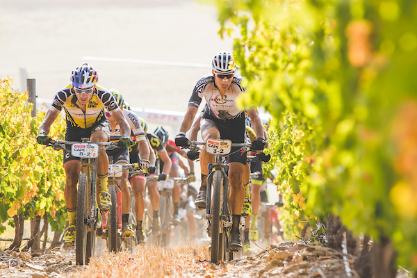 Henrique Avancini of Cannondale Factory Racing XC & Christoph Sauser of Investec-Songo-Specialized during stage 4 of the 2017 Absa Cape Epic Mountain Bike stage race from Elandskloof in Greyton to Oak Valley Wine Estate in Elgin, South Africa on the 23rd March 2017 Photo by Ewald Sadie/Cape Epic/SPORTZPICS