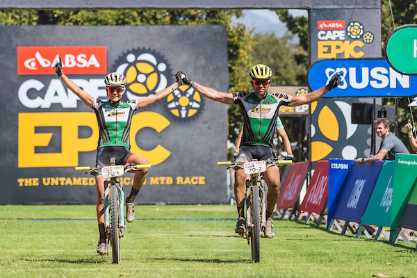 Jenny Rissveds and Thomas Frischknecht winning the mixed category during stage 4 of the 2017 Absa Cape Epic Mountain Bike stage race from Elandskloof in Greyton to Oak Valley Wine Estate in Elgin, South Africa on the 23rd March 2017 Photo by Dominic Barnardt/Cape Epic/SPORTZPICS