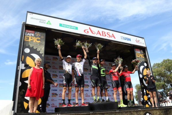 2017 Absa Cape Epic Stage 1 Podium (Left to Right): 2nd Christoph Sauser & Jaroslav Kulhavy, of Investec-Songo-Specialized, 1st Henrique Avancini & Manuel Fumic, of Cannondale Factory Racing XC, and 3rd Markus Kaufmann Jochen Kaess, of Centurion Vaude. Photo by Shaun Roy/Cape Epic/SPORTZPICS