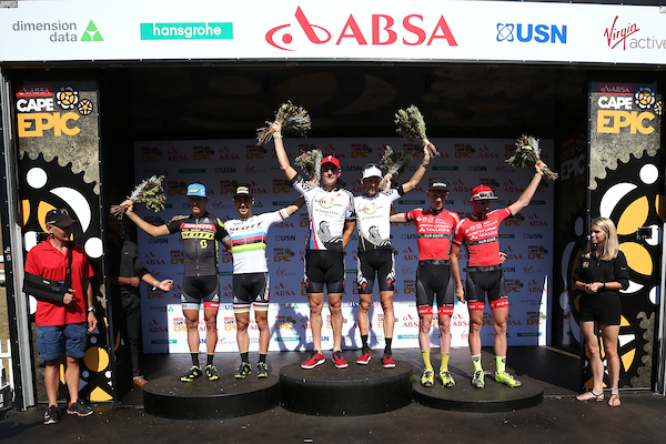 Left to right: 2nd Place Matthias Stirnemann & Nino Schurter of SCOTT-SRAM MTB Racing, 1st Place Jaroslav Kulhavy & Christoph Sauser of Investec-Songo-Specialized and 3rd Place Daniel Geismayr & Nicola Rohrbach of Centurion Vaude 2 during stage 3 of the 2017 Absa Cape Epic Mountain Bike stage race held from Elandskloof in Greyton, South Africa on the 22nd March 2017 Photo by Shaun Roy/Cape Epic/SPORTZPICS