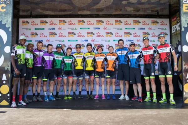 Jennie Stenerhag and Esther Süss are joined on stage by their fellow overall leaders' jersey wearers, including Grand Masters champions Bärti Bucher & Heinz Zoerweg of Meerendal CBC 3, at the 2017 Absa Cape Epic final prize giving. Photo by Nick Muzik/Cape Epic/SPORTZPICS.