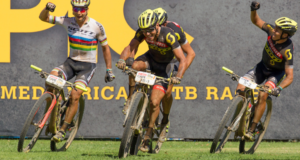 Michiel Van der Heijden and Andri Frischknecht of team Scott-SRAM Young Guns win stage 4 and Matthias Stirnemann and Nino Schurter of team SCOTT-SRAM MTB Racing come second during the 2017 Absa Cape Epic Mountain Bike stage race from Elandskloof in Greyton to Oak Valley Wine Estate in Elgin, South Africa on the 23rd March 2017  Photo by Greg Beadle/Cape Epic/SPORTZPICS