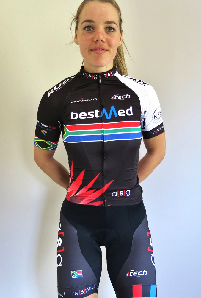 Bernette Beyers from Team Bestmed-ASG won the sprint and points titles at the African Continental Track Championships in Durban last week. Photo: Supplied