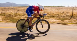 Candice Lill, of Dorma Karma, overcame a lack of experience to take the honours in the Buffet Olives individual time-trial at the Boland Agricultural High School just outside Paarl today, claiming the yellow jersey on the second stage of the Bestmed Tour of Good Hope. Photo: Robert Ward