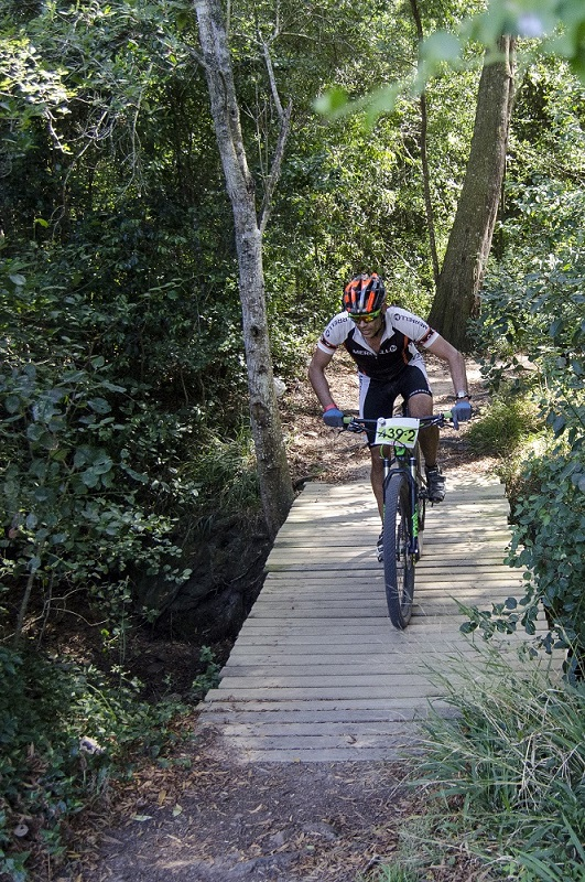 Riders will face some interesting descents on the Garden Route Trail Park's single-track trails on day two of the Garden Route 300 mountain bike race. Photo: Julie Ann Photography