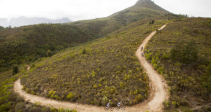 Sabine Spitz & Yana Belomoina of Sport for Good climb to Bothmaskop during stage 6 of the 2016 Absa Cape Epic Mountain Bike stage race from Boschendal in Stellenbosch, South Africa on the 19th March 2015  Photo by Gary Perkin/Cape Epic/SPORTZPICS  PLEASE ENSURE THE APPROPRIATE CREDIT IS GIVEN TO THE PHOTOGRAPHER AND SPORTZPICS ALONG WITH THE ABSA CAPE EPIC  ace2016