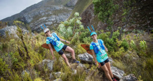 Starting at Wildekrans Wine Estate and finishing at the historical Houw Hoek Inn, the third and final stage of the 2017 Cell C AfricanX Trailrun presented by ASICS will close off on a high note on Sunday, 19 March 2017.    Seen here (from left to right):  Cape Nature team, Jeanne Gouws and Alexis Olds in action during Stage Three of the 2016 Cell C AfricanX Trailrun presented by ASICS.  Photo Credit:  Tobias Ginsberg