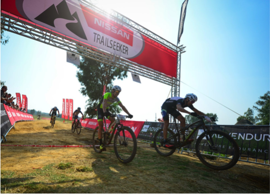 Nico Bell throws his bike forward to claim the win ahead of Philip Buys at Round 1 of the Nissan Trailseeker Series at Legends MX east of Pretoria on Saturday. Photo Credit: www.zcmc.co.za