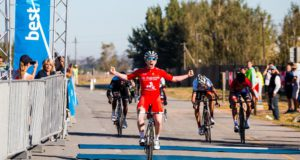 Irishman Philip Lavery (Alfa Bodyworks) celebrates his win in the 102km opening stage of the Bestmed Tour of Good Hope road race, which started and finished at the La Paris Estate near Paarl today. Photo: Robert Ward