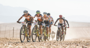 The leading two UCI womens category teams battie it out during stage 3 of the 2017 Absa Cape Epic Mountain Bike stage race held from Elandskloof in Greyton, South Africa on the 22nd March 2017  Photo by Ewald Sadie/Cape Epic/SPORTZPICS