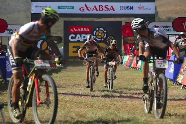 Christoph Sauser of Investec-Songo-Specialized beats Matthias Stirnemann of SCOTT-SRAM MTB Racing to the line to win stage 3 with partner Jaroslav Kulhavy of Investec-Songo-Specialized during stage 3 of the 2017 Absa Cape Epic Mountain Bike stage race held from Elandskloof in Greyton, South Africa on the 22nd March 2017 Photo by Shaun Roy/Cape Epic/SPORTZPICS
