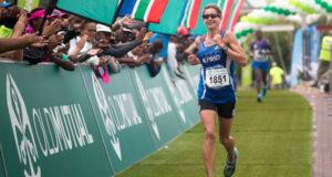 March 12, 2016.  Old Mutual Om die dam marathon at Hartebeespoort dam. Caroline Wostmann won the womens in 3.38:38.  Picture MARIANNE SCHWANKHART