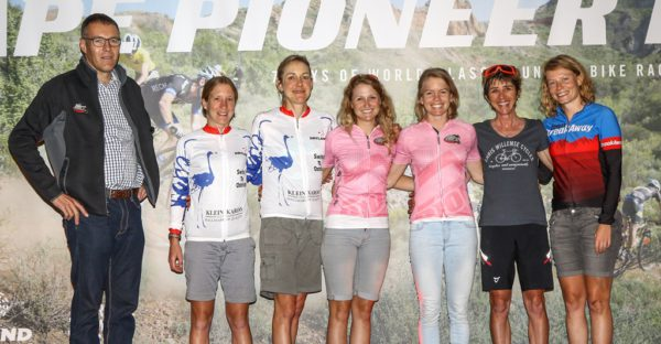 Hannele Steyn (2nd from right) and Katja Steenkamp (far right) raced to third together in the 2016 Cape Pioneer Trek so the duo knows they can work well as a team. Photo by Oakpics.com.