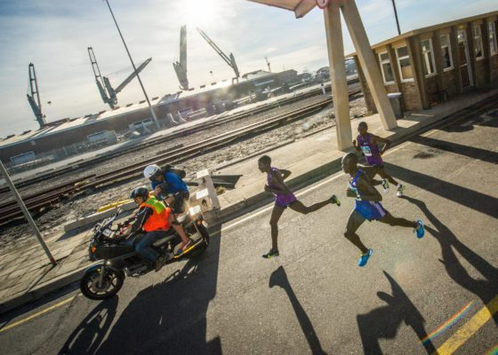 Road runners have been given an added incentive to put in the extra training with the announcement of a R200 000.00 prize purse for the 2017 edition of the Cape's most loved 12km road race, the FNB Cape Town 12 ONERUN. Seen here:  Elite Men's leaders during the inaugural FNB Cape Town 12 ONERUN.  Photo Credit:  Tobias Ginsberg