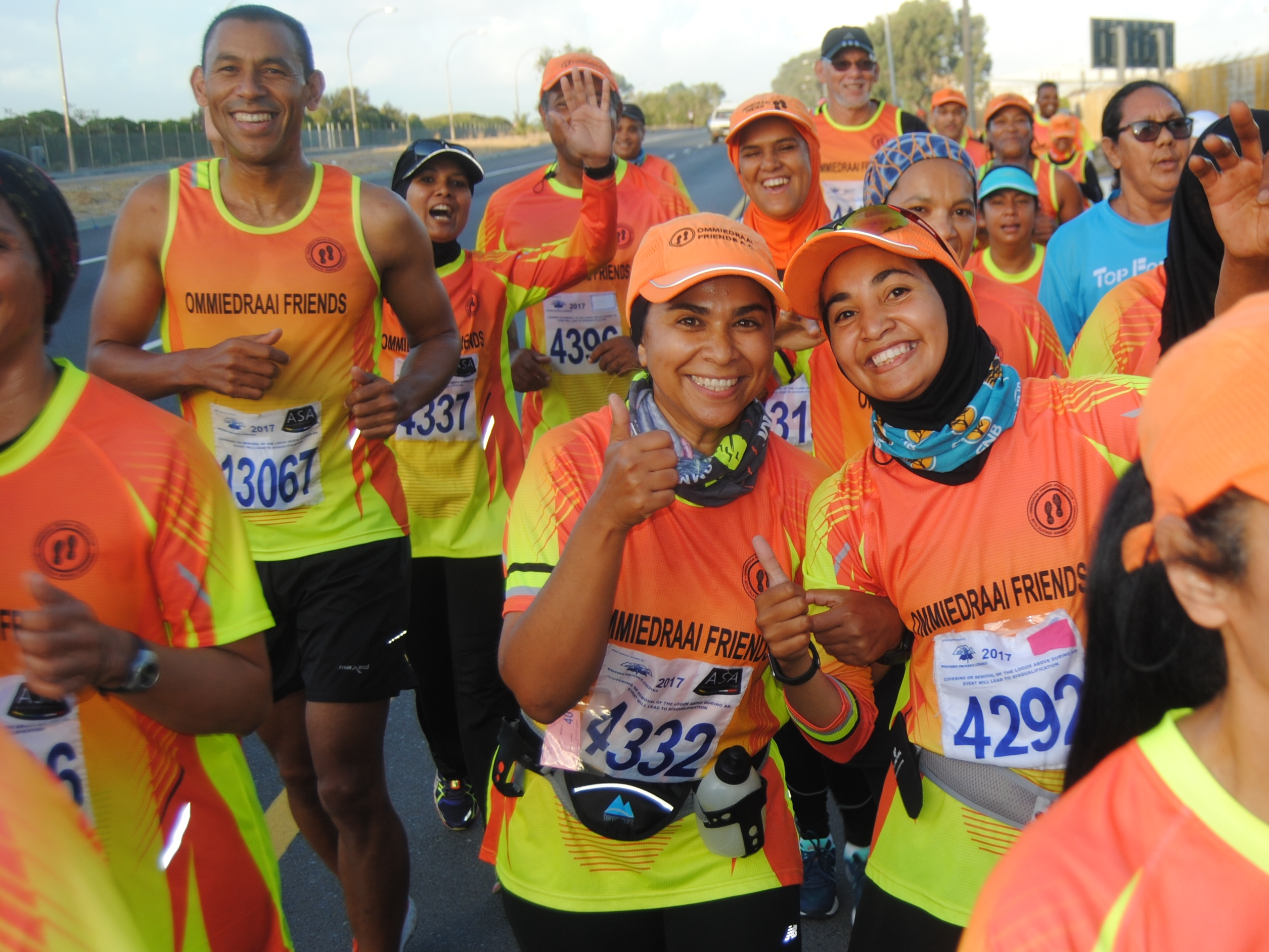 The Ommiedraai Friends Athletic Club (Kenilworth) is counting down the days to the 2nd annual Cell C Day Of Races powered by Reebok that will take place at the Greenpoint A Track on Sunday, 23 April 2017.  The Cell C Day Of Races allows entrants to choose the start wave the suits them best.  Instead of going for gold, runners are encouraged to beat their Personal Best finishing times, be social, take photographs and videos at designated points on route, share it to the event's social media platforms and stand a chance to win magnificent prizes.  Seen here:  Members of the Ommiedraai Friends Athletic Club during a training run.  Photo Credit:  Nazeem Kariem