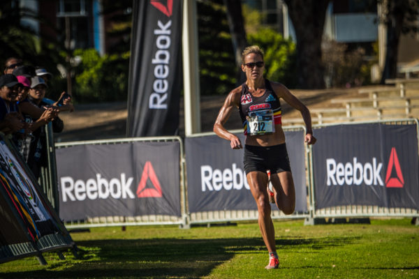 Tanith Maxwell claimed gold in the Elite Women's Race in a lightning fast time of 17 minutes 45 seconds.  Seen here:  Maxwell on her way to the finish line.  Photo Credit:  Tobias Ginsberg