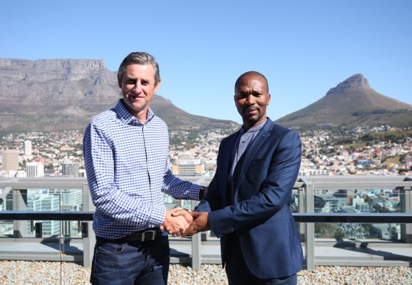The organisers of the FNB Cape Town 12 ONERUN are excited to welcome Budget Rent a Car as the official car rental partner of the Cape's premier 12km road run.  Starting at Woodbridge Island (Milnerton) at 09:00, the FNB Cape Town 12 ONERUN celebrates the brilliance of Cape Town and its beautiful surrounds.  The route will guide runners along the  coastline through the Harbour, past key city landmarks, including Cape Town Harbour, Grand Parade and the V&A waterfront, before finishing at the Portside building in the heart of Cape Town.  Seen here (from left to right):  Michael Meyer, Managing Director of Stillwater Sports with Mike Sema, CSI, Events and Sponsorship Manager Budget Rent a Car, South Africa.   Photo Credit:  Luke Walker
