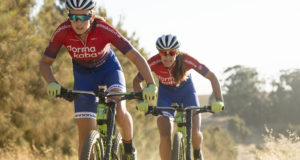 The Team dormakaba duo of Candice Lill (left) and Vera Adrian will be aiming to defend their KAP sani2c title over the next three days. Craig Kolesky/ Gameplan Media